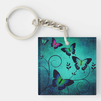 Ornate Jewel Butterflies Keychain