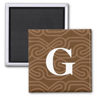 Ornate Knotwork Monogram - Letter G 2 Inch Square Magnet