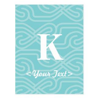 Ornate Knotwork Monogram - Letter K Postcard