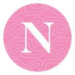 Ornate Knotwork Monogram - Letter N Classic Round Sticker