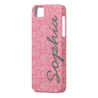 Ornate Lace Flowers Pink Custom Name iPhone 5 Case