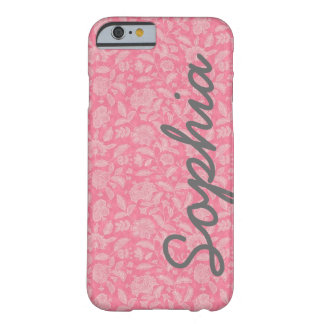 Ornate Lace Flowers Pink Custom Name iPhone 6 case