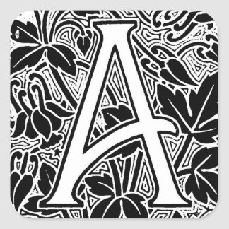 "Ornate Letter ""A"" Square Sticker"