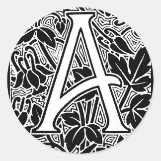 "Ornate Letter ""A"" Classic Round Sticker"