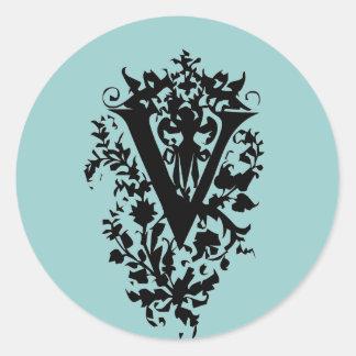 "Ornate Letter ""V"" Classic Round Sticker"