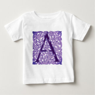 Ornate Lilac and Lavender Inital A Baby T-Shirt