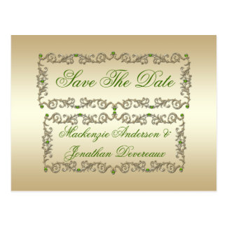 Ornate Lime Green Gems Gold Swirls Save The Date Postcard