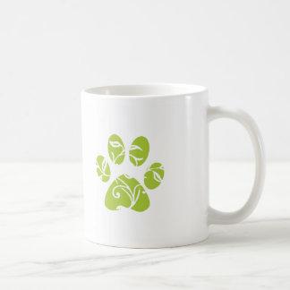 Ornate Lime Green Paw Print Coffee Mug