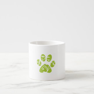Ornate Lime Green Paw Print Espresso Cup