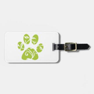 Ornate Lime Green Paw Print Luggage Tag