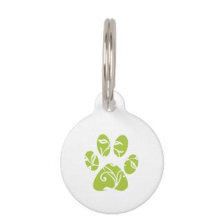 Ornate Lime Green Paw Print Pet Tag