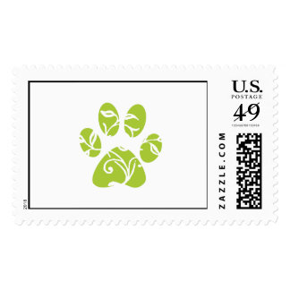 Ornate Lime Green Paw Print Postage