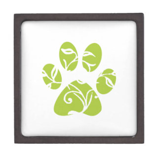 Ornate Lime Green Paw Print Premium Jewelry Boxes