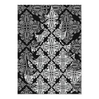 Ornate Luxury  Christmas Tree Damask Pattern Card