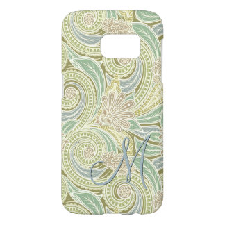 Ornate Monogram Chic Pastel Paisley Floral Pattern Samsung Galaxy S7 Case