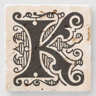 Ornate Monogram 'K' Stone Coaster