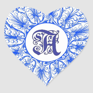 Ornate Monogram Letter A Blue Sticker