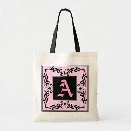 Ornate Monogram Letter A Pink and Black Bag