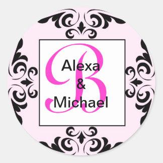 Ornate Monogram Letter B Pink Roses Sticker