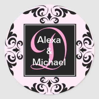 Ornate Monogram Letter D Pink Roses Sticker