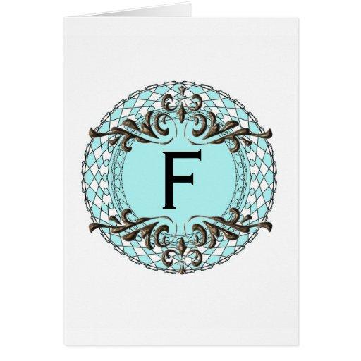 Ornate Monogram Letter F Custom Notecard