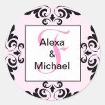Ornate Monogram Letter F Pink Roses Sticker