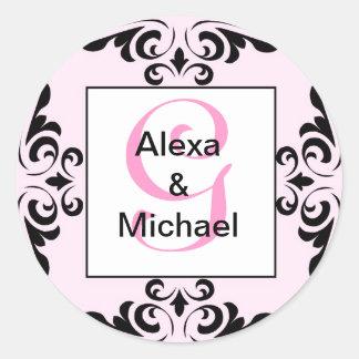 Ornate Monogram Letter G Pink Roses Sticker