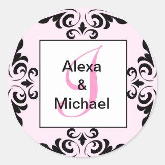 Ornate Monogram Letter I Pink Roses Sticker
