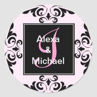 Ornate Monogram Letter I Pink Roses Sticker