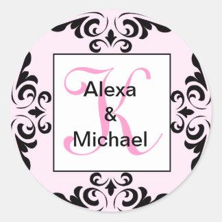Ornate Monogram Letter K Pink Roses Sticker