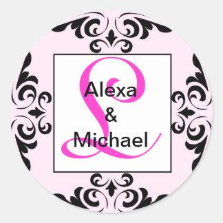 Ornate Monogram Letter L Pink Roses Sticker