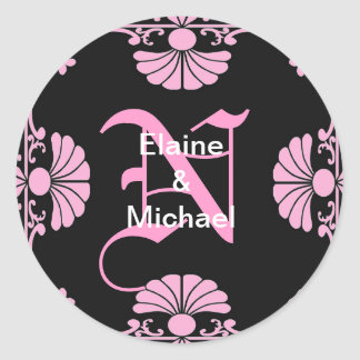Ornate Monogram Letter N Pink Sticker