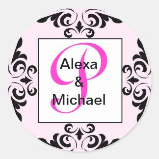 Ornate Monogram Letter O Pink Roses Sticker
