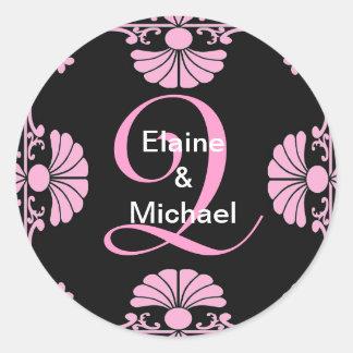 Ornate Monogram Letter Q Pink Sticker
