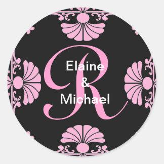 Ornate Monogram Letter R Pink Sticker