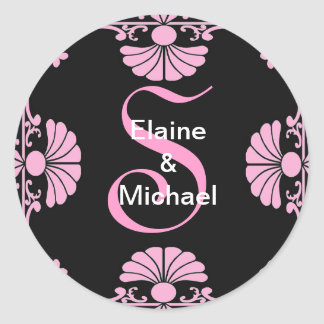 Ornate Monogram Letter S Pink Sticker