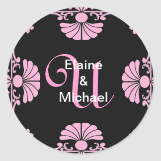 Ornate Monogram Letter U Pink Sticker