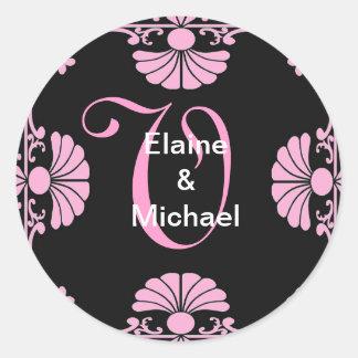 Ornate Monogram Letter V Pink Sticker
