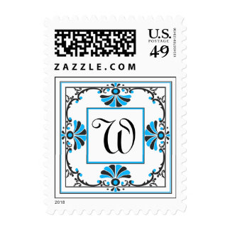 Ornate Monogram Letter W Blue Stamp
