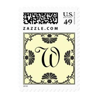Ornate Monogram Letter W Ivory Stamp