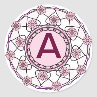 Ornate Monogram Pink Floral Letter A Sticker