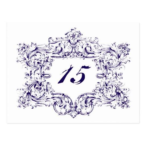 Ornate Navy Blue Frame Table Numbers Postcard