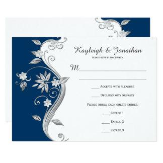 Ornate Navy Blue White Silver Flowers RSVP Card