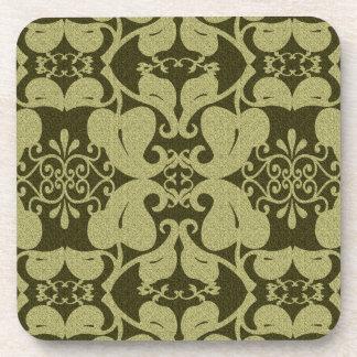 Ornate Olive Green  Coasters