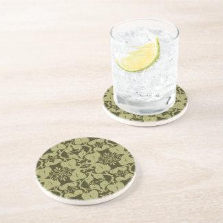 Ornate Olive Green Pattern Drink Coaster