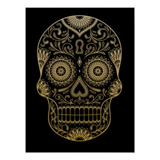 Ornate One Color Sugar Skull Poster