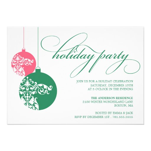 ORNATE ORNAMENTS   HOLIDAY PARTY INVITES