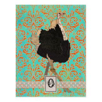 Ornate Ostrich Monogram  Postcard