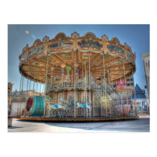 Ornate Outdoor Carousel Postcard