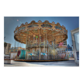 Ornate Outdoor Carousel Poster